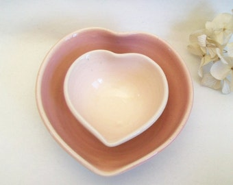 Nesting Heart Bowls -  Shades of pink - Set of 2, Handmade - Ready to Ship- Actual Set - 3.5 in.