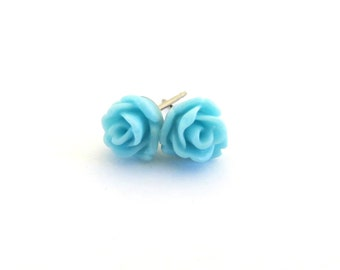 Tiny Robins Egg Blue Rose Earrings- Surgical Steel or Titanium Post Earrings- 7mmBlack Friday Sale 20% Off