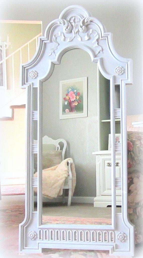 "DECORATIVE VINTAGE MIRROR 52""x24"" Shabby Chic Baby Nursery Mirror Princess Mirror White Vintage Mirror Ornate Decorative White Decor"