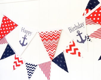 Happy Birthday Banner, Nautical Anchor Party Bunting, 5 Large Fabric Pennant Flag, Red, White, Navy Boy Party, Smash Cake Photo, Birthday