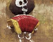 Dia de los Muertos Calavera Accordion Player - 12x18 High Quality Art Print