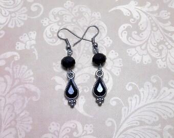 Black Teardrop Rhinestone Earrings - Clearance