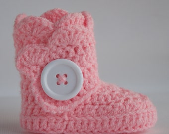 Soft Pink Infant Crochet Scallop Wrap Boots- Choose Your Size