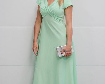 1970s Mint Maxi Long Dress with Back Bow