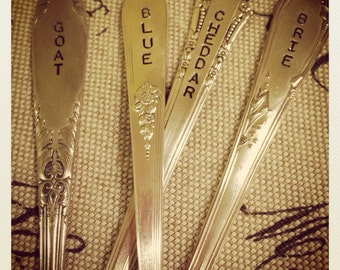 Vintage Silverware Hand Stamped Cheese Marker Set