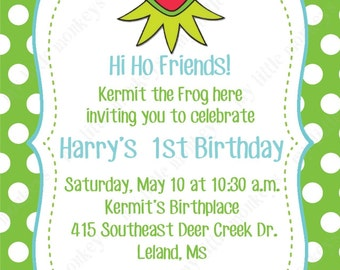 10 PRINTED Kermit the Frog Birthday Invitations with Envelopes.  Free Return Address Labels