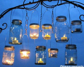 Party Favor Lanterns 100 DIY Wedding Mason Jar Hanging Lids only, Ball Mason Jars Bulk Party or Event Lights for Gifts, Candles or Tealights