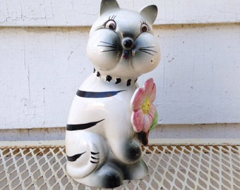 Vintage Cat Head Vase - Chubby Cheeks Holding a Flower - White Kitty with Black Stripes
