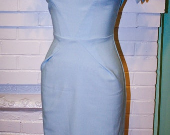 Marilyn's Blue Bow Sleeve Pinup Wiggle Dress- With Lining- Pinup Low Back Monroe Style
