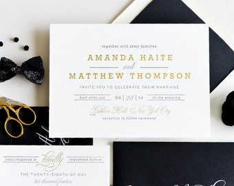INVITATION SAMPLE The Auric Suite - Gold Foil and Black Letterpress Wedding Invitation - Heirloom Wedding Invitations by Sincerely, Jackie