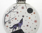 Lone Wolf Moon Christmas Holiday Ornament