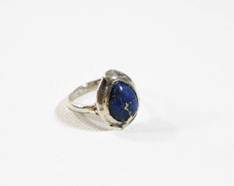 Arts and Crafts Sterling Silver Lapis Cabochon Ring 1920s Jewelry