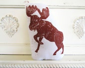 Plush Moose Pillow. Hand Woodblock Printed. Choose ANY Color. Made to Order.