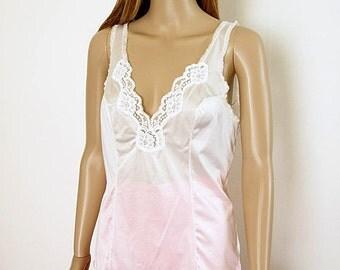 Vintage 1970s Camisole Cream White Silky Lacy Vassarette Camisole Slip Top / Size 34 to 36