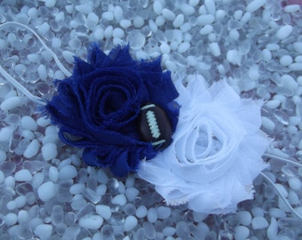 Indianapolis Colts Baby Headband Royal Blue and White Double Flower Headband -  Newborn - Infant - Toddler - Girl - Adult - Photo Prop