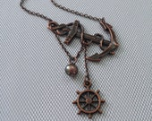 Lost at Sea Necklace, Antique Copper Anchor, Ship Wheel, AAA Peacock FW Pearl, Sideways Anchor, Lost at Sea Necklace, Sailor Gift, Sail Away