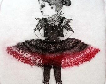 Etching / limited edition original etching (printmaking / graphic art) / original print / original art / ballet dancer etching - 'Dancer'