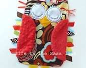 Woodland OWL Ribbon Tag Baby Blanket in Alexander Henry Mocca Print and Red Minky Blankie with Teething Ring Baby Gift