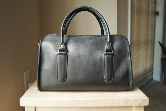 Authentic Vintage Coach Large Madison Satchel - Made in NYC - Charcoal Grey Leather Doctor Satchel