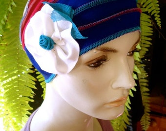 Womens Adult Extra Wide Headband Chemo Headwear Chemotherapy head wrap cobalt Blue with White flower