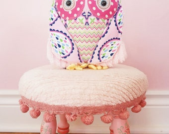 BWinks Girly owl - Perfectly Pink stuffed owl pillow friend - Handmade Heirloom - pink chenille and cotton fabrics