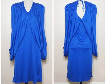 70s Blue Drapey Dress Medium Coccon Dress Rhinestones Disco Shawl Dress Open Back