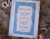 Mother in Law, Shabby and Chic Plaque with Original Poem, antiqued white, aqua blue, Mother in Law gift