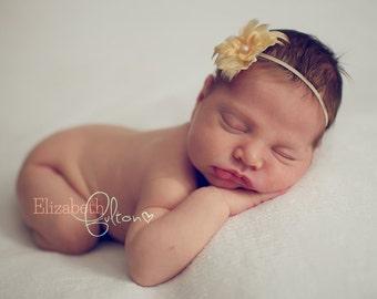 Yellow Baby Headband. Newborn Feather Headband, Newborn Girl Photo Prop Headband, Skinny Elastic Newborn Headband, Newborn Photography Prop