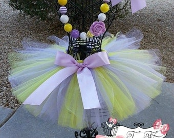 BEAUTIFUL LILAC- Lavender and Yellow baby/child tutu with  hairbow:  NEWBORN-5T
