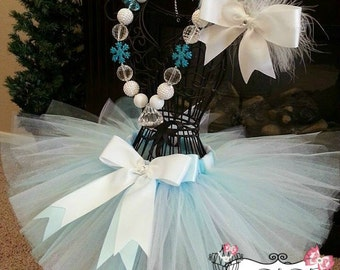 SNOW QUEEN ELSA- White, Aqua, and Shimmer blue  infant/child Tutu with hairbow:  Newborn-5T