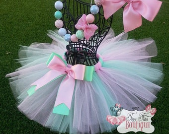 PINK MINT- Pink and mint, tutu with hairbow:  Newborn-5T