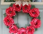 Spring Wreath - Spring Peony Wreath - Spring Door Wreath