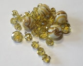 Golden Marshmallow Swirl - Lampwork Glass and Faceted Crystal - Bead and Drop Mix - 32 beads