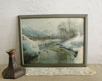 Vintage Winter Mountain Stream Print