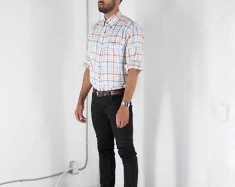 Flannel Plaid Shirt / Mens Pastel Button Up / Oversized Long Sleeve Shirt