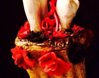 HanD of GLoRy...ooak handmade CUSTOM kiln fired clay & leather gory left hand of glory talisman Made to Order