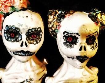 s a l e..Mature..Sayonara SugarBone...OOAK handmade dildoll ceramic stoneware sugar skull kiln fired dildo