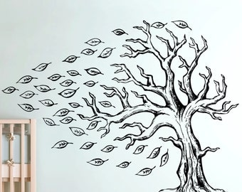 Vinyl Wall Decal Sticker Tree With  Flying Leaves 5350s