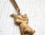 Vintage Adorable Winking Puppy Necklace
