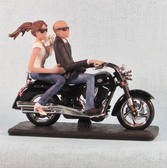 Motorcycle Wedding Cake Topper With Bald Groom and Sunglasses
