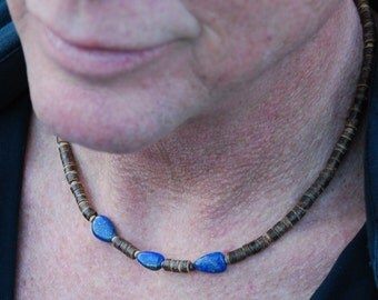 Stinson Beach - 18 Inch Handcrafted Gemstone Necklace - Coconut Shell, Wood & Lapis Lazuli - SGArtCA - Tribal Chic Jewelry