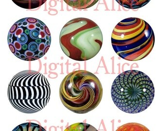 ANTIQUE MARBLES Craft Circles - vintage marble - Instant Download Digital Printable MARBLE -  -Bottlecaps Collage Sheet -  DiY Print