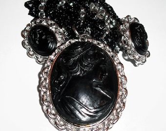 Vintage Black And Silver Cameo Necklace And Earring Set