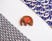 Red and gold Indian elephant brooch - Indian paper, wood and stainless steel necklace / pendant