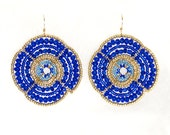 Large Beaded Earrings, Blue and Gold, Flower Shape (Large)