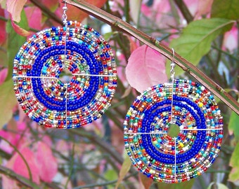 African Jewelry, African Earrings, Multi-Color Maasai Beaded Earrings, Traditional (Large)