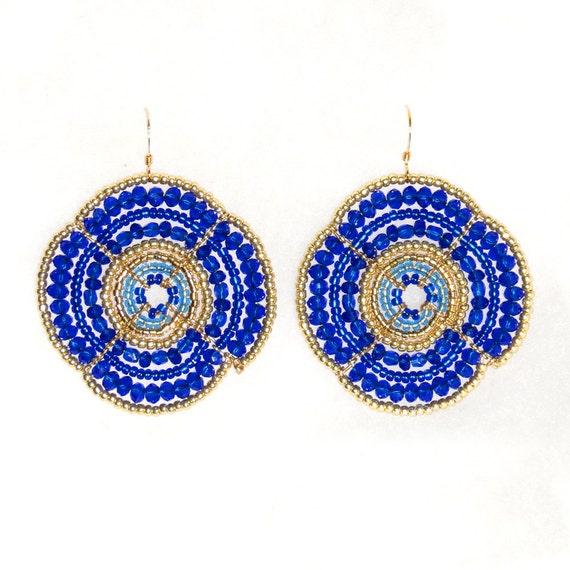 Large Beaded Earrings, Blue and Gold, Graduation Gift, Graduate Gift, Flower Earrings