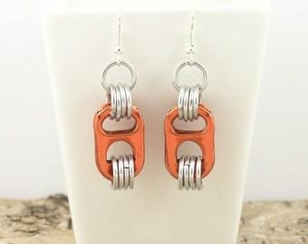 orange pop tabs earrings - pair - aluminium chainmaille