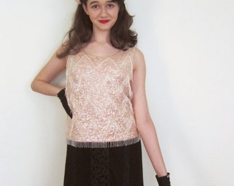 Vintage 1950s Sequined Shell Top Hong Kong / 50s Pink Evening Top with Beaded Fringe Flapper Style