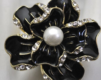 Black Floral Cocktail Ring/Statement Ring/ Gift For Her/ Wedding Jewelry/Gold/Special Occasion/Rhinestone/Under 20 USD/ Adjustable
